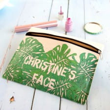 Make Up Pouch - Personalised Urban Jungle Leaves