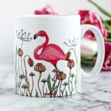 Flamingo In A Meadow Personalised Mug