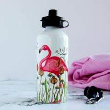 Flamingo In A Meadow Personalised Water Bottle