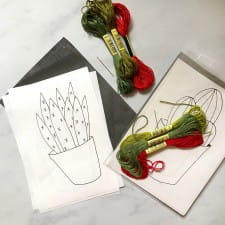 Embroidery supplies for cactus design