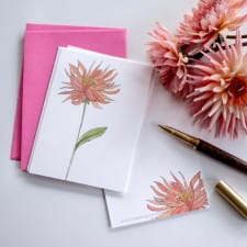 Dahlia watercolour postcard set