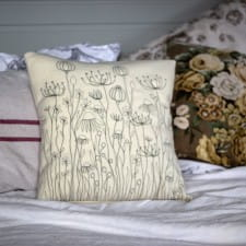 Embroidered cushion - meadow design